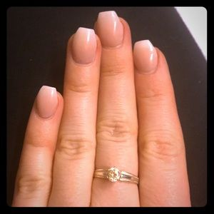 Sterling silver champagne crystal ring